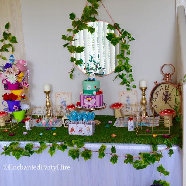 alice-in-wonderland-table-setting & Alice in Wonderland Table Setting - Enchanted Party Hire